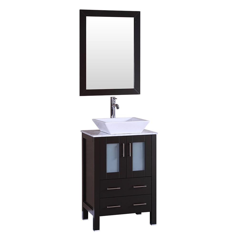Bosconi 24 in. W Single Bath Vanity with Carrara Marble Vanity Top in Gray with White Basin and Mirror