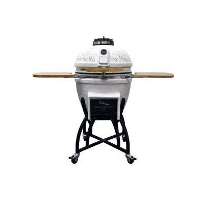 Kamado Professional Ceramic Charcoal Grill in White with Grill Cover