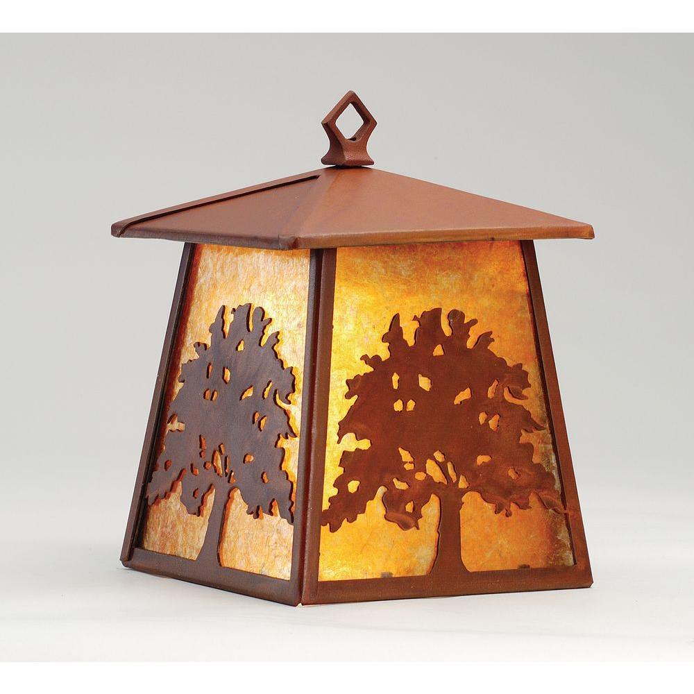 Illumine 1 Oak Tree Hanging Wall Sconce Rust Finish Mica Glass