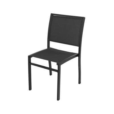 Bayline Textured Black Sling Patio Dining Side Chair