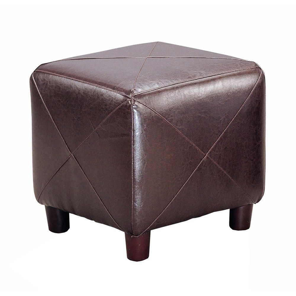 Contemporary Dark Brown Leather Cube Ottoman