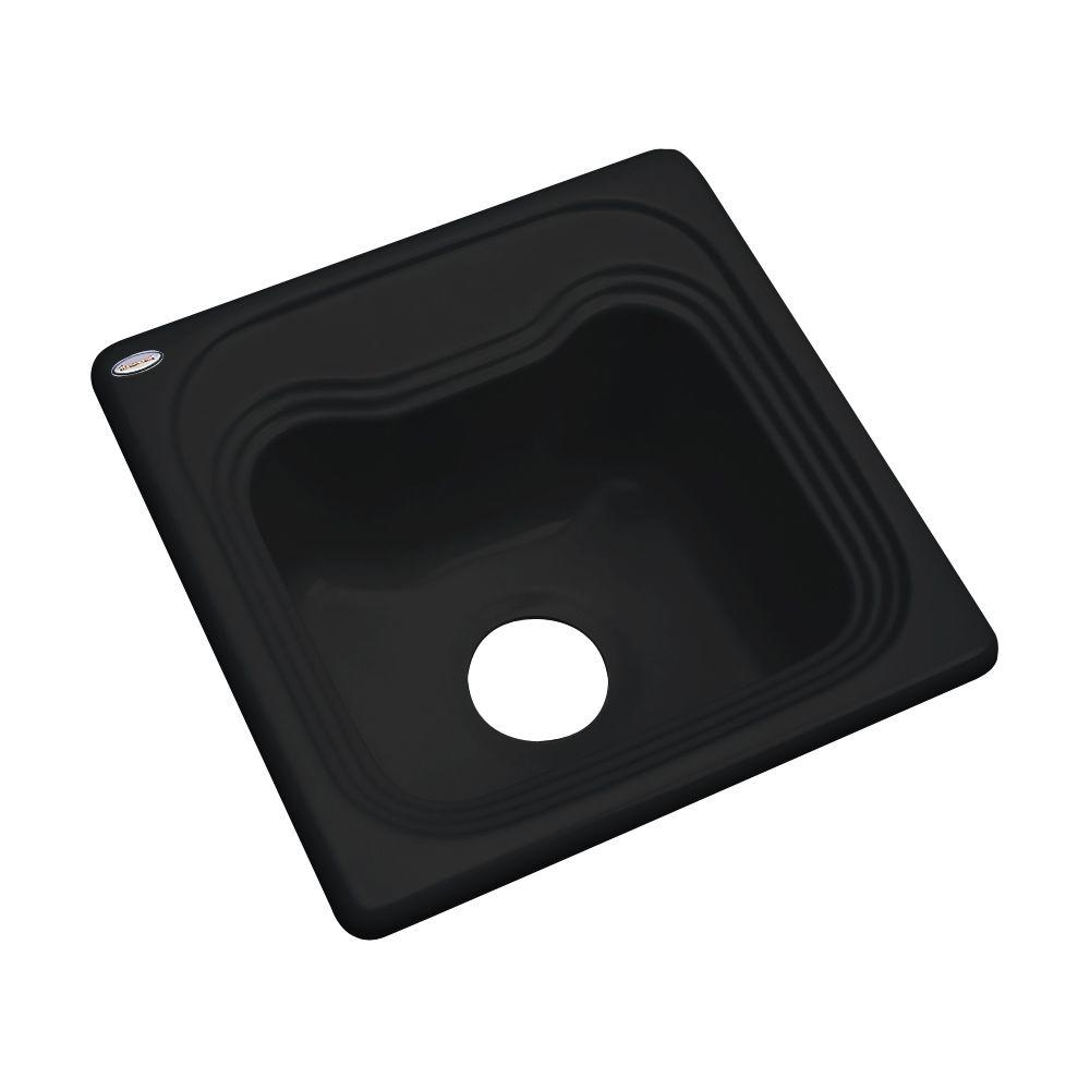 Thermocast Oxford Drop-In Acrylic 16 in. Single Bowl Kitchen Sink in Black