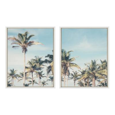 Sylvie Coastal Coconut Palm Tree Beach 24 in. x 18 in. by The Creative Bunch Studio Framed Canvas Wall Art