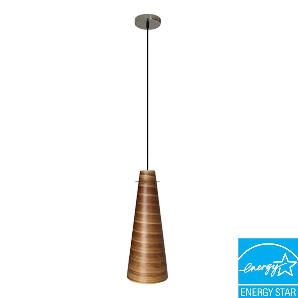 Efficient Lighting Conventional Series 1-Light Ceiling Mount Pendant Fixture with Brown Glass Shade GU24 Energy Star Qualified-DISCONTINUED