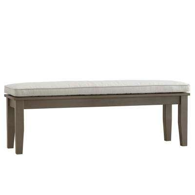 Verdon Gorge 55 in. Gray Oiled Wood Outdoor Bench with Beige Cushion