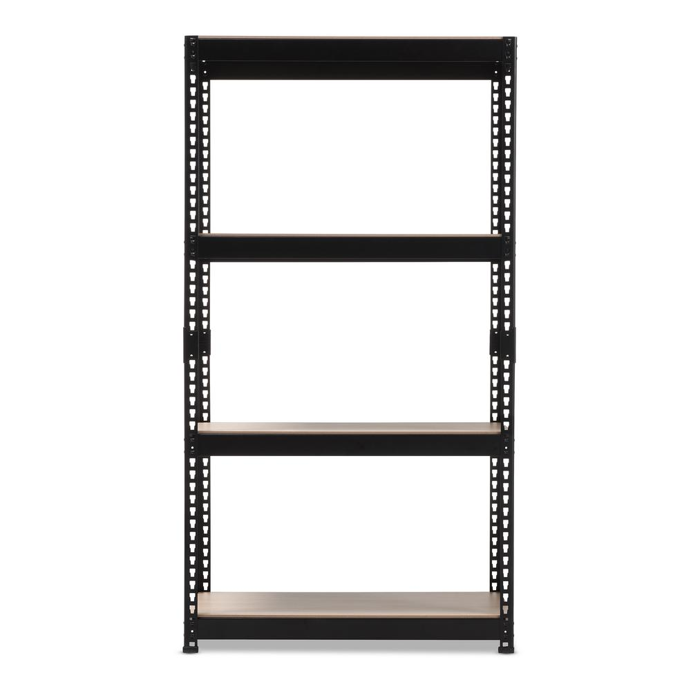 Cody Black Metal 4-Shelf Multipurpose Shelving Rack