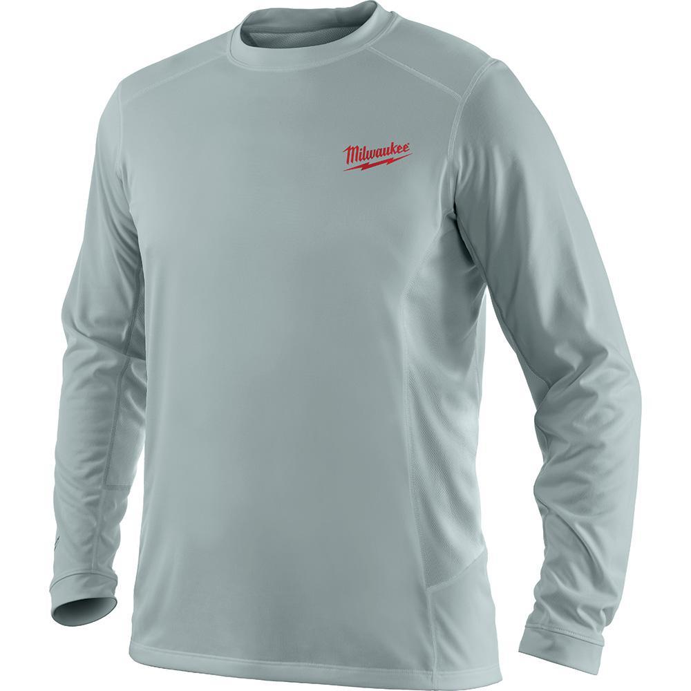 896fec1381c Milwaukee Men s Extra Large Work Skin Gray Long Sleeve Light Weight  Performance Shirt