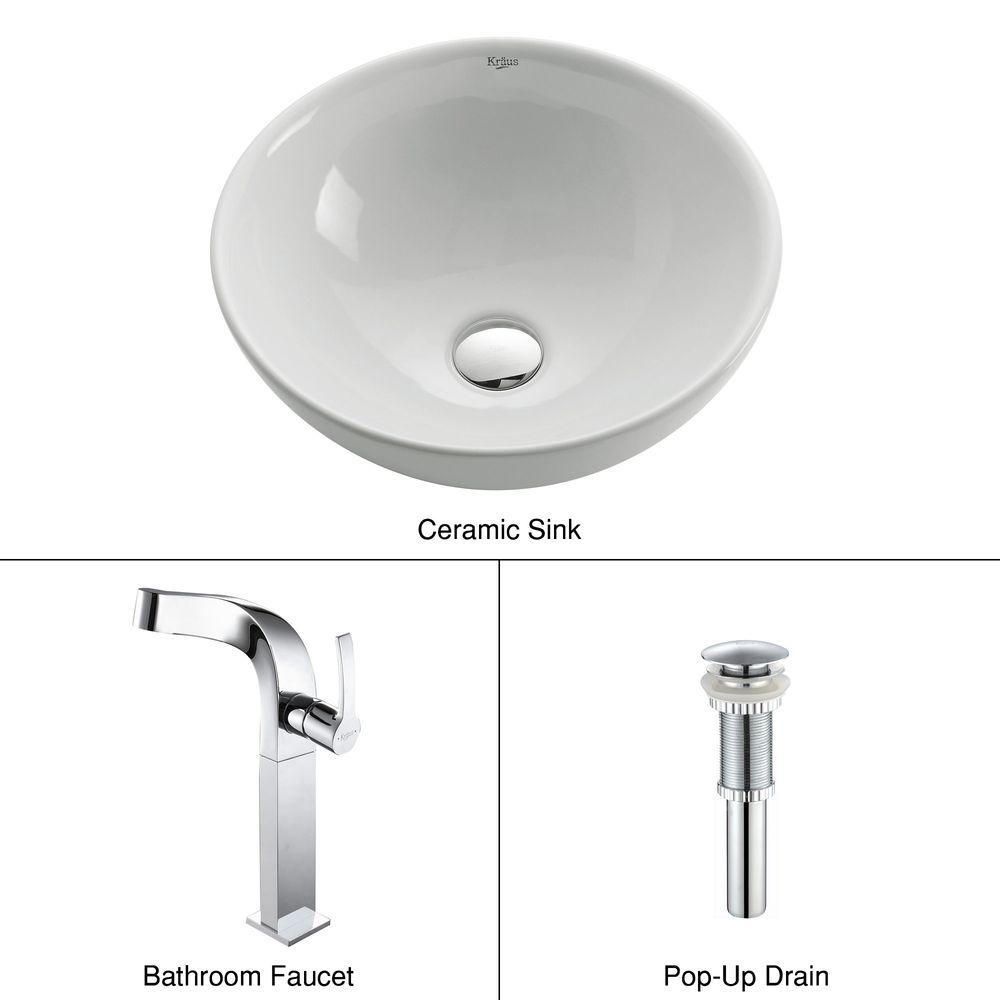 KRAUS Soft Round Ceramic Vessel Sink in White with Typhon Faucet in Chrome