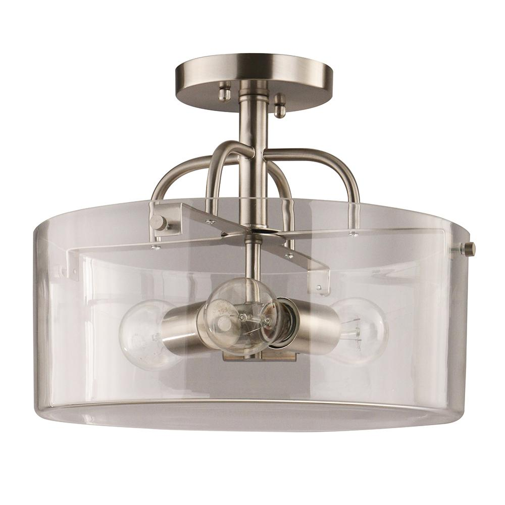 Home Decorators Collection 3-Light Brushed Nickel Semi-Flush Mount with Clear Glass Shade
