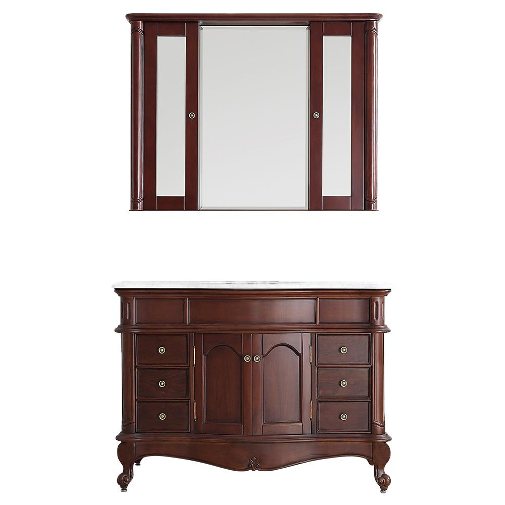 Vinnova Messina 48 in. W x 23 in. D x 35 in. H Vanity in Antique Cherry with Marble Vanity Top in White with Basin and Mirror