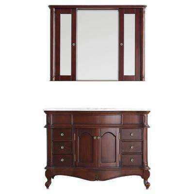 Messina 48 in. W x 23 in. D x 35 in. H Vanity in Antique Cherry with Marble Vanity Top in White with Basin and Mirror