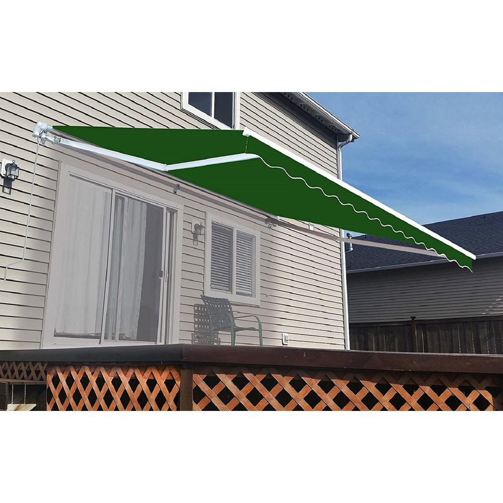 Aleko 16 Ft Motorized Retractable Awning 120 In Projection In Dark Green Awm16x10green39 Hd The Home Depot