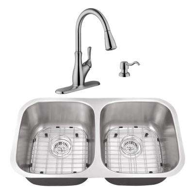 Undermount Stainless Steel 29-1/8 in. 50/50 Double Bowl Kitchen Sink with Brushed Nickel Faucet