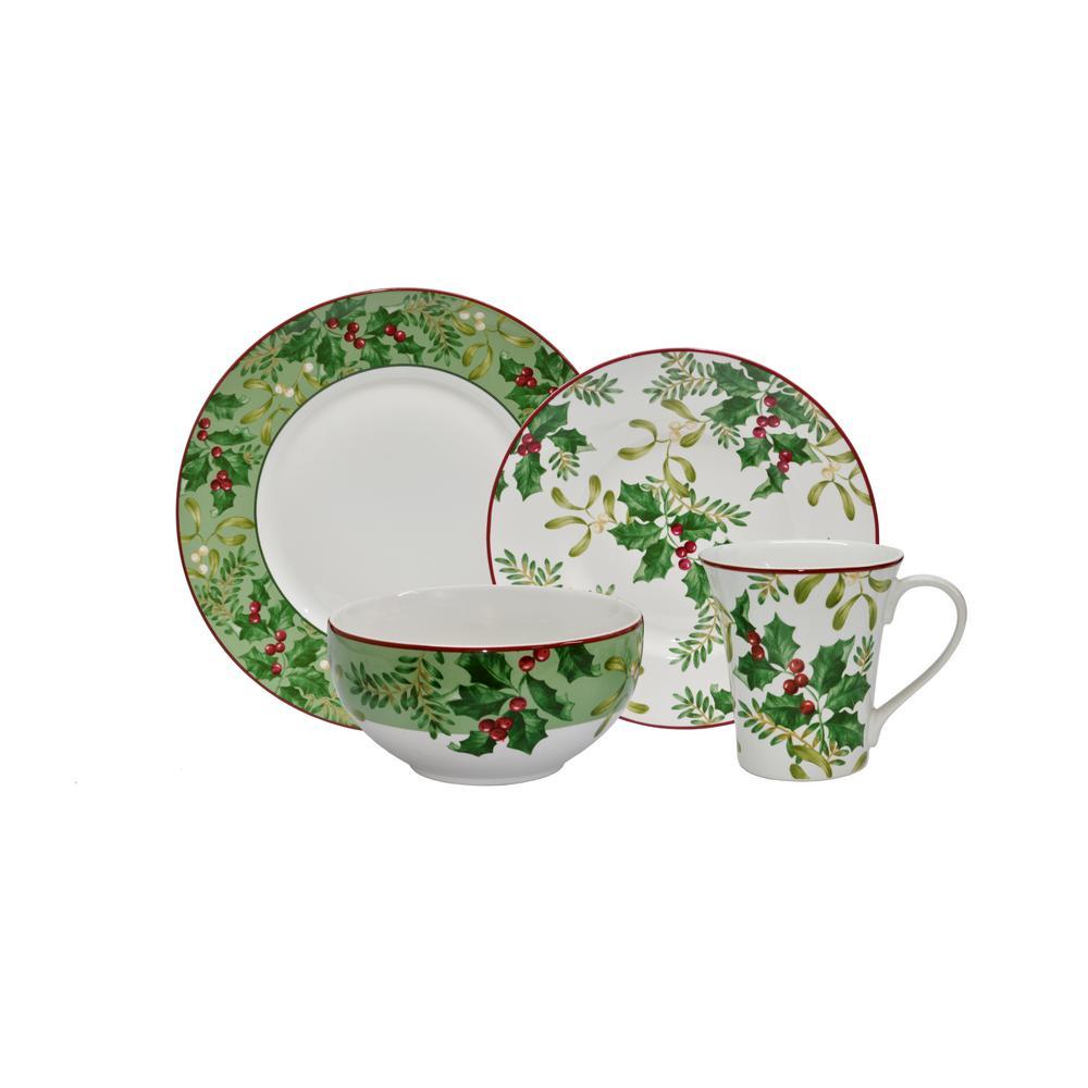 Christmas Foliage Green 16-Piece Dinnerware Set