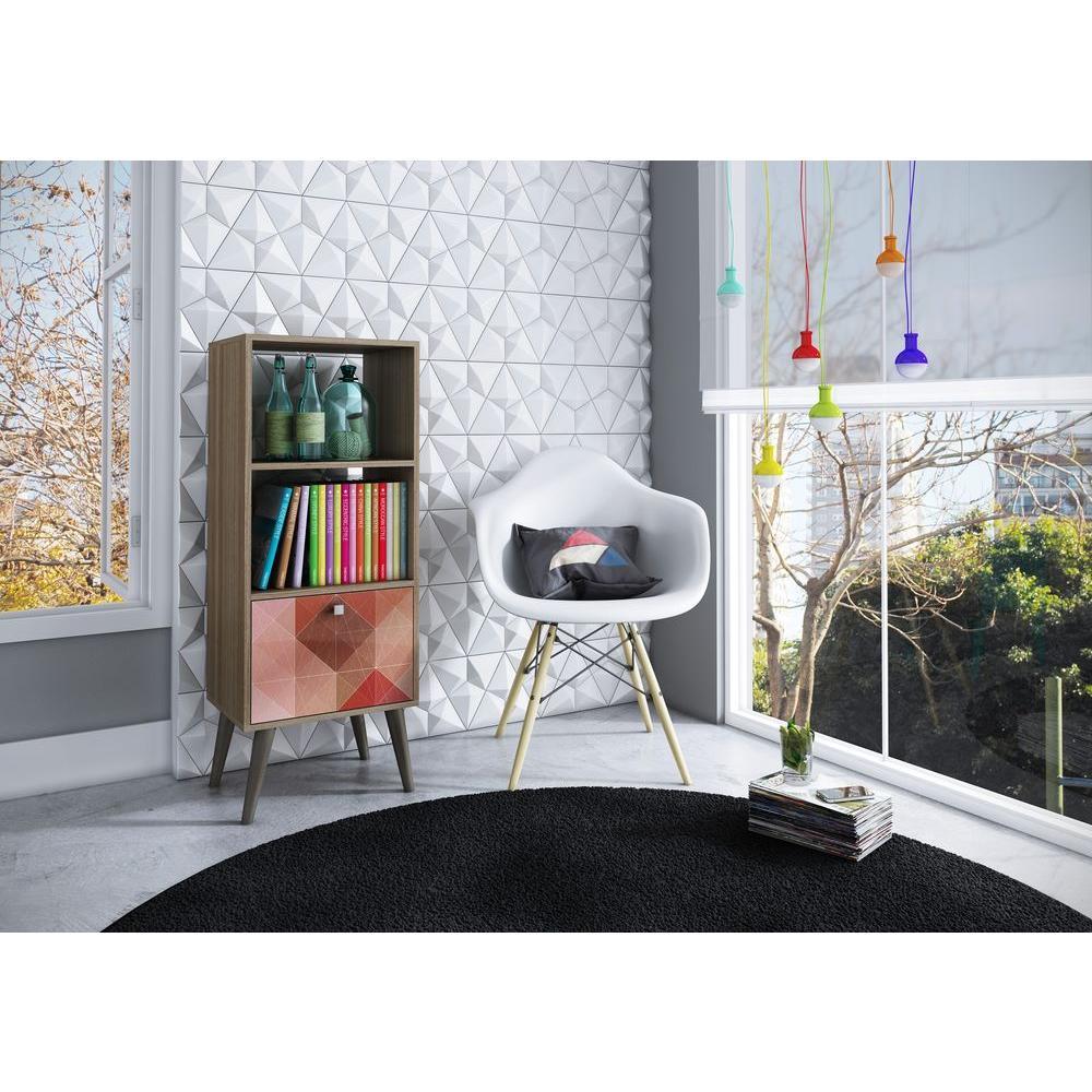 Sami Oak & Multi Color Storage Open Bookcase