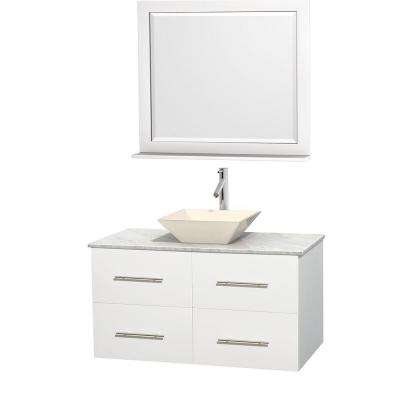 Centra 42 in. Vanity in White with Marble Vanity Top in Carrara White, Bone Porcelain Sink and 36 in. Mirror