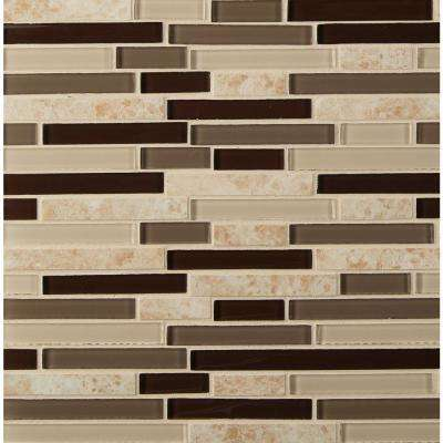 Amalfi Cafe Interlocking 12 in. x 12 in. x 6 mm Glass and Porcelain Mesh-Mounted Mosaic Wall Tile