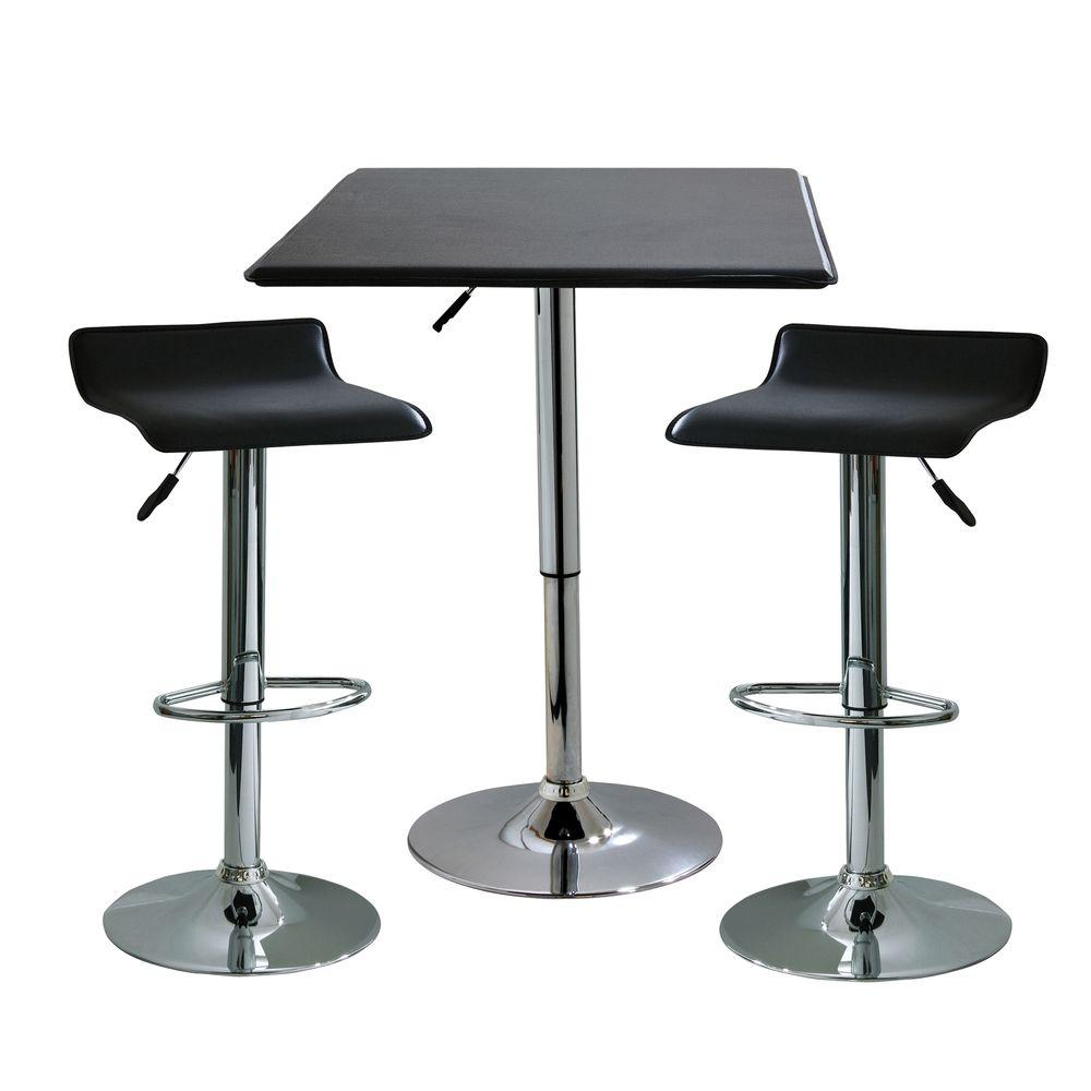 AmeriHome 35 in. H Contemporary Style Adjustable Height Bar Table with 2-Backless Stools (3-Piece)