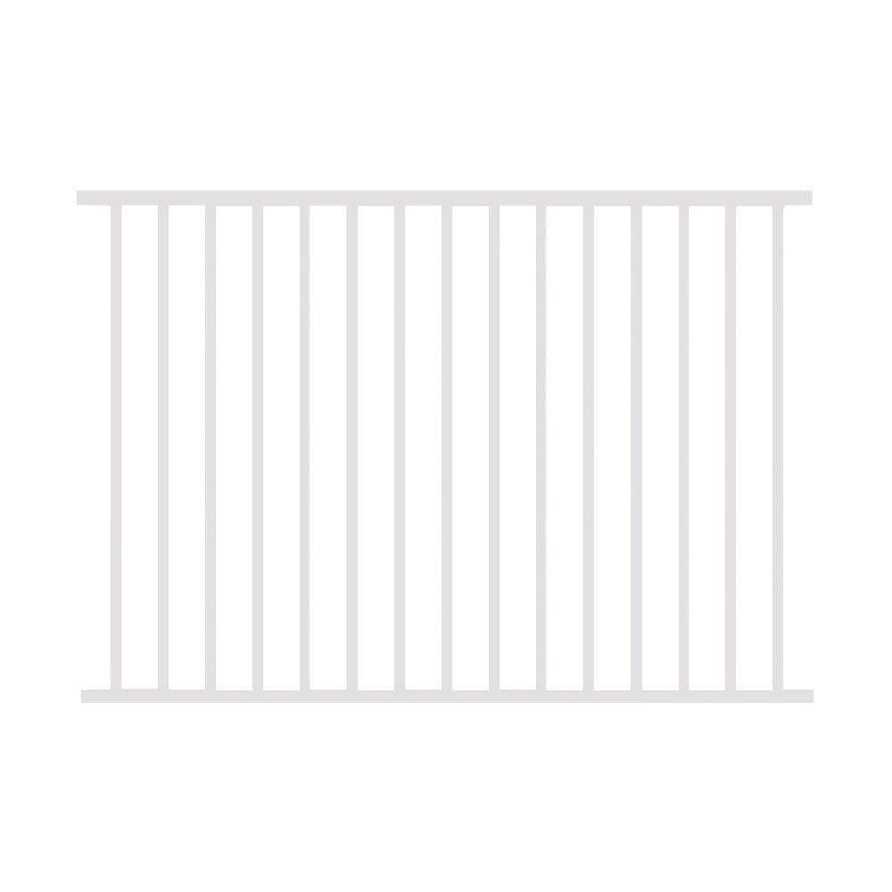 Allure Aluminum 4 ft. H x 6 ft. W Aluminum White Unassembled Metropolitan 2-Rail Fence Section (4-Pack)
