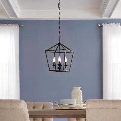 Weyburn 4- Light Bronze Caged Chandelier