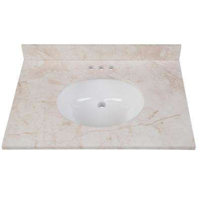 31 in. W x 22 in. D Stone Effects Vanity in Dune with White Sink