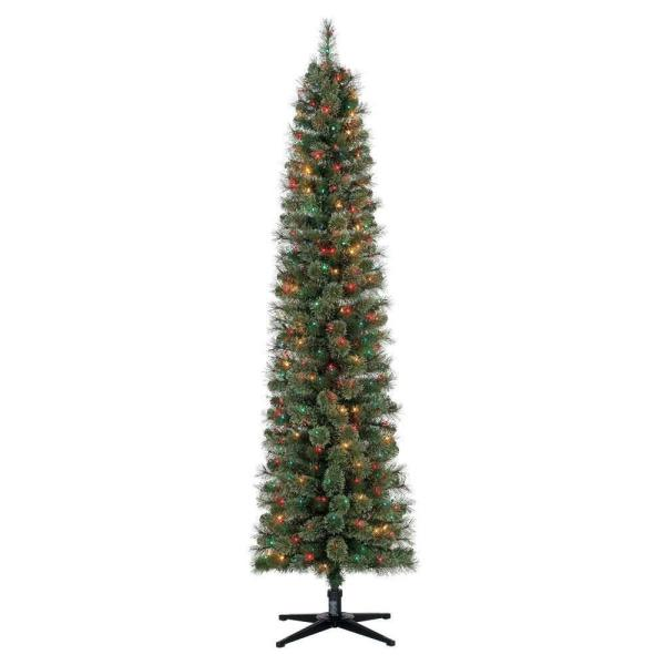 Stanley 7 ft. Artificial Pine Christmas Tree with Multicolored Lights