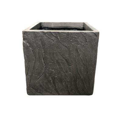 13.78 in. x 13.78 in. x 13.78 in. Dark Brown Lightweight Concrete Slate Cube Large Planter
