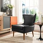 Keen Black Upholstered Vinyl Armchair