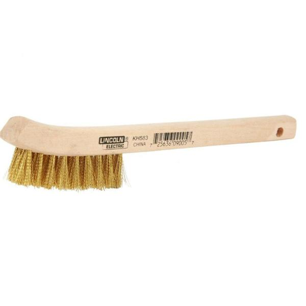 9 in. Long Wooden Handled Brass Welding Wire Brush (.4 in. x 2.6 in. Bristle Area 2 x 9 Row) for Cleaning Aluminum