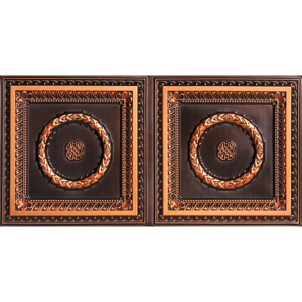 Laurel Wreath 2 ft. x 4 ft. PVC Lay-in Ceiling Tile in Antique Copper