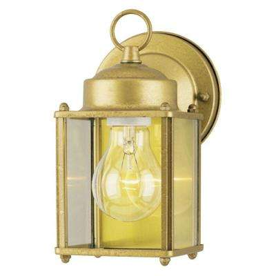 1-Light Exterior Goldenrod Steel Wall Lantern with Clear Glass Panels