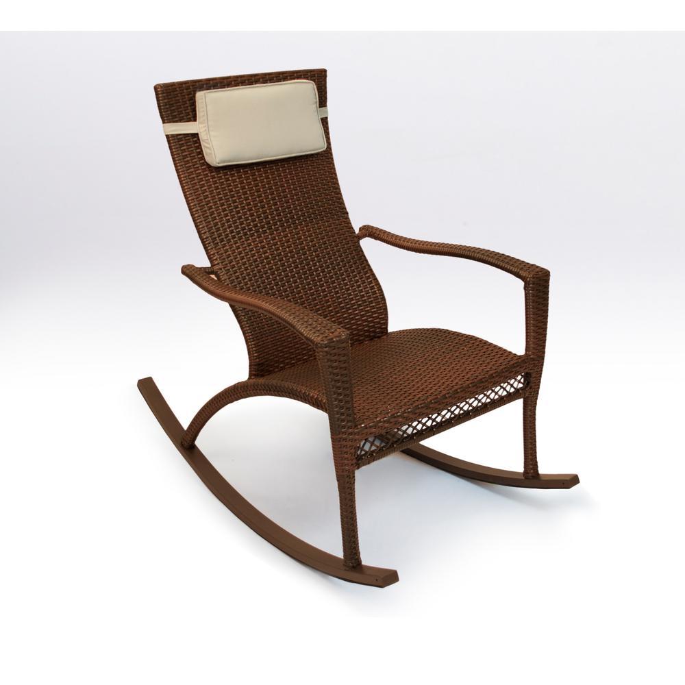 Tortuga Outdoor Maracay Java Wicker Oversized Rocking Chair With Head Cushion