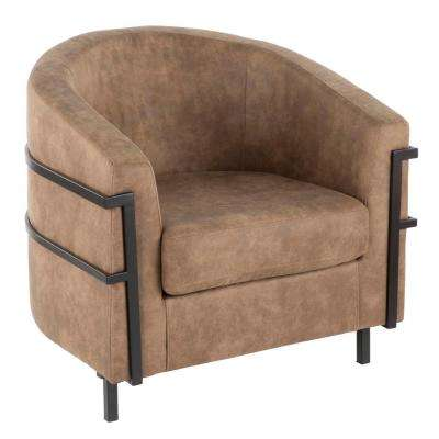 Colby Black and Brown Industrial Tub Chair