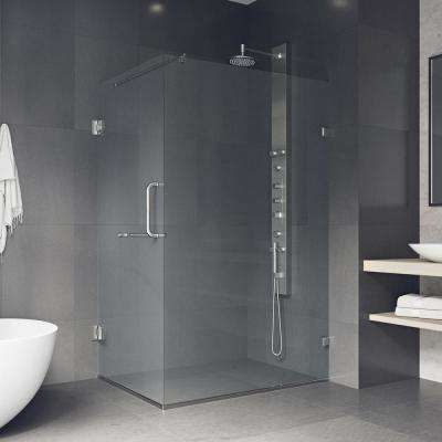 Pacifica 46 in. x 73.375 in. Frameless Corner Hinged Shower Enclosure in Brushed Nickel with Clear Glass