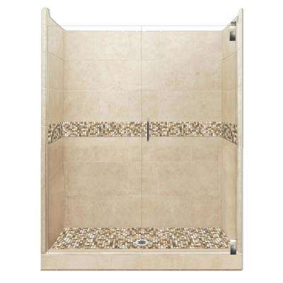 Roma Grand Hinged 42 in. x 48 in. x 80 in. Center Drain Alcove Shower Kit in Brown Sugar and Satin Nickel Hardware