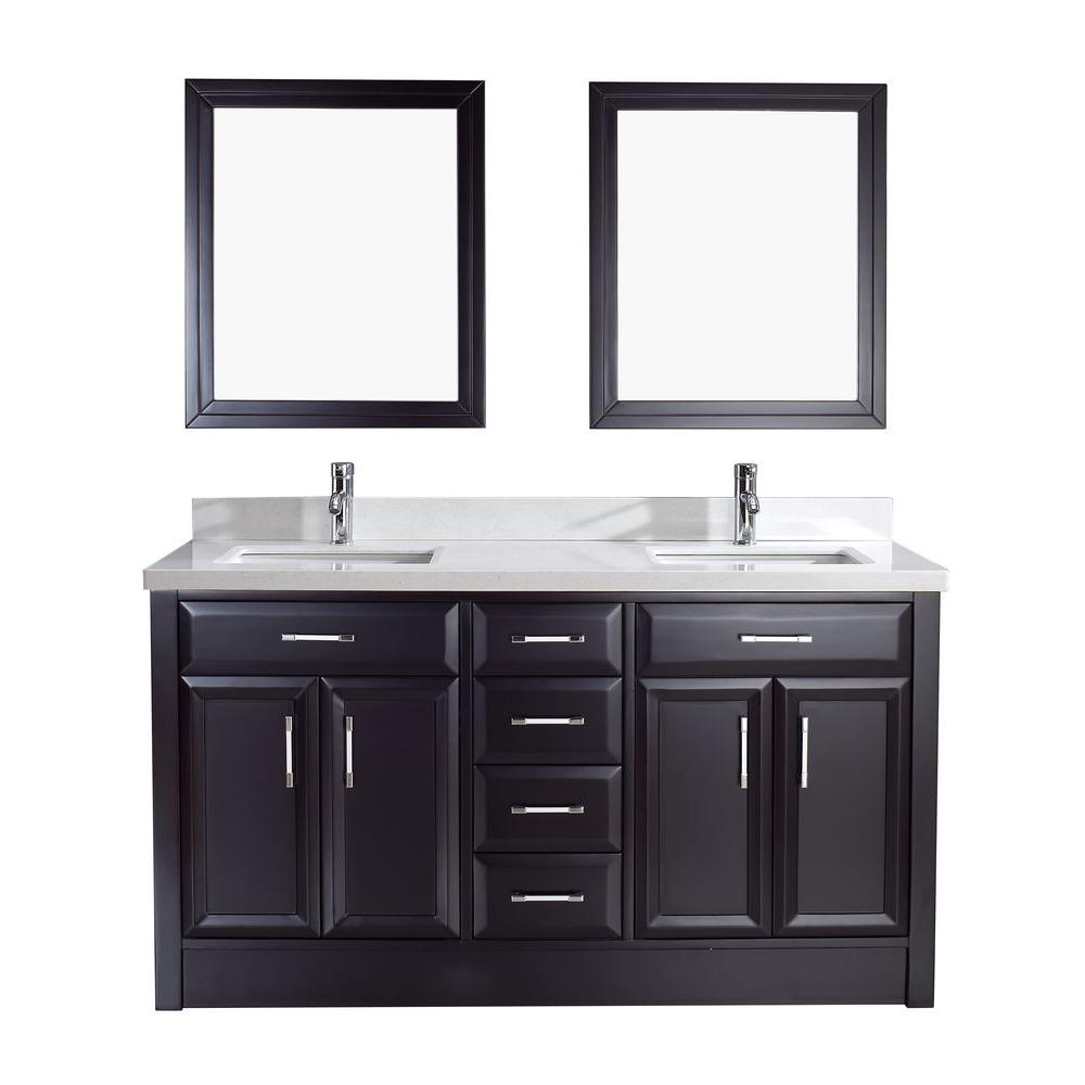 Calais 63 in. Vanity in Espresso with Solid Surface Marble Vanity
