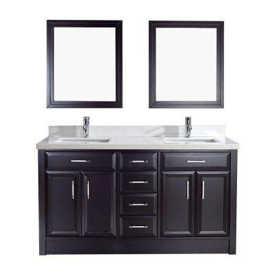 Calais 63 in. Vanity in Espresso with Solid Surface Marble Vanity Top in Carrara White and Mirror