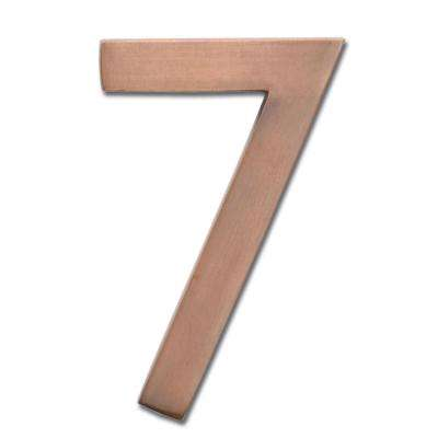 4 in. Antique Copper Floating House Number 7