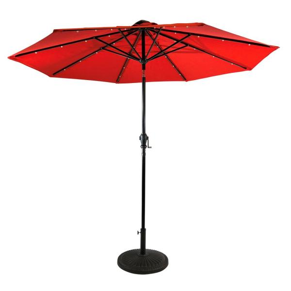 9 ft. Aluminum Market Solar Lighted 8-Rib Round Patio Umbrella with Olefin Canopy in Ruby Red
