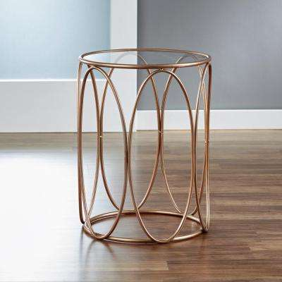 Rose Gold Oval Side Table Beveled Glass Top