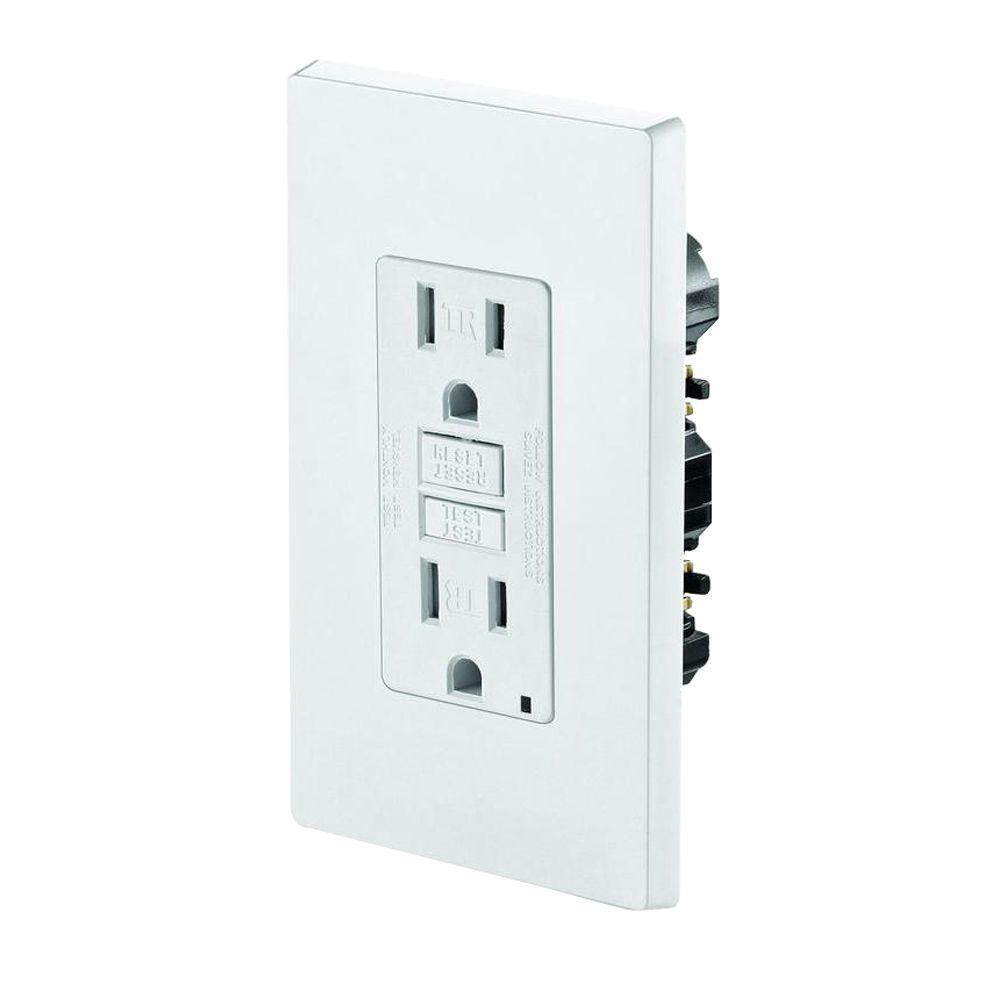 SmartLockPro 15 Amp Slim Tamper-Resistant Duplex GFCI Outlet, White
