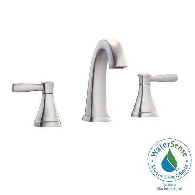 Clarice 8 in. Widespread 2-Handle Mid-Arc Bathroom Faucet in Brushed Nickel with Drain