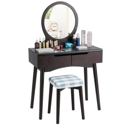 2-Drawer Brown Vanity Set with Round Mirror Cushioned Stool Makeup Dressing Table