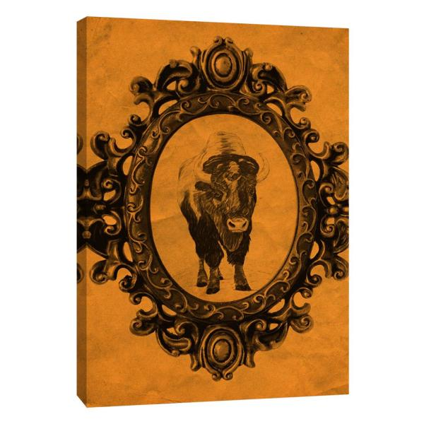 PTM Images 12 in. x 10 in. ''Framed Bison in Tangerine''