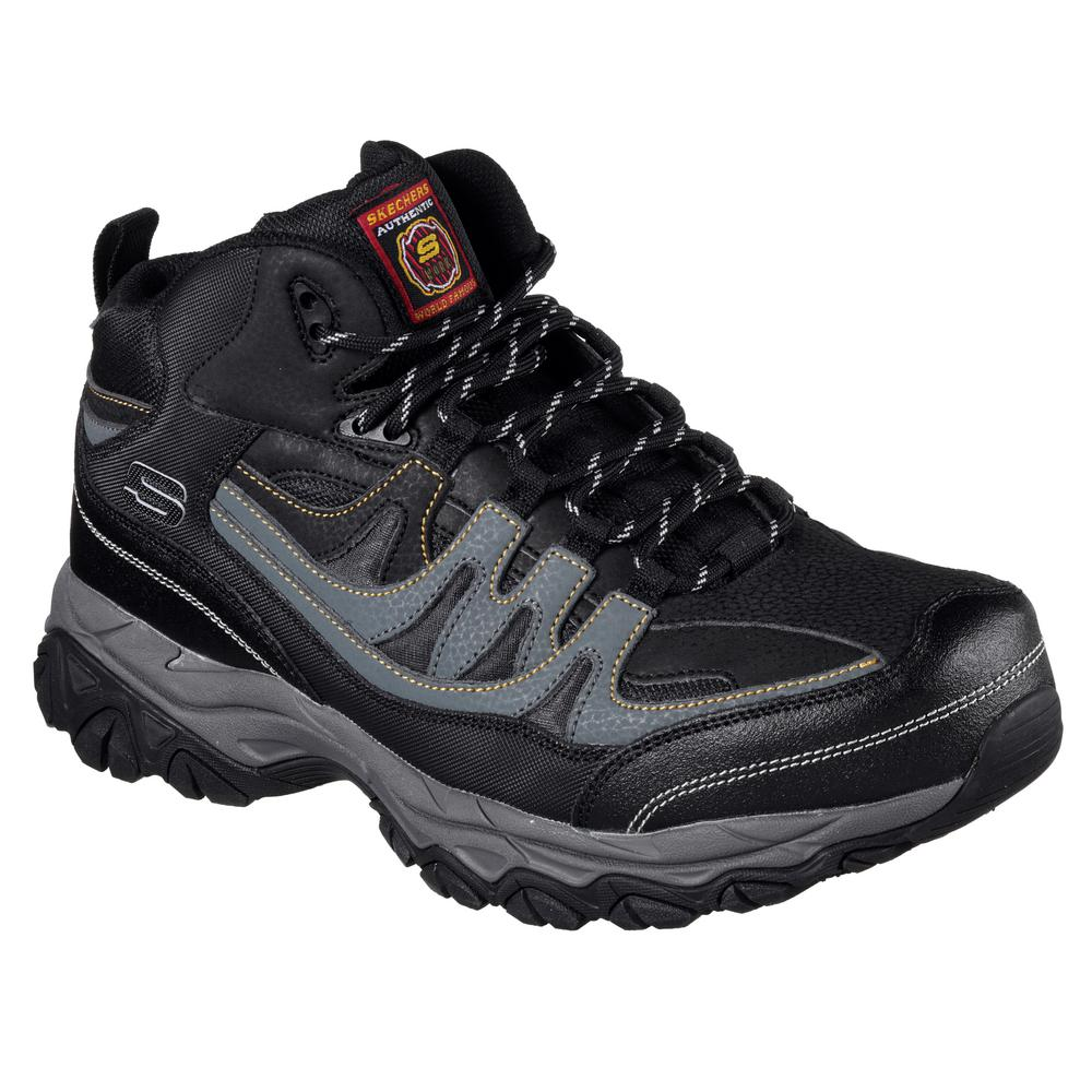 NEW Mens SKECHERS Work Relaxed Fit Crankton STEEL TOE Black LEATHER Safety Shoes