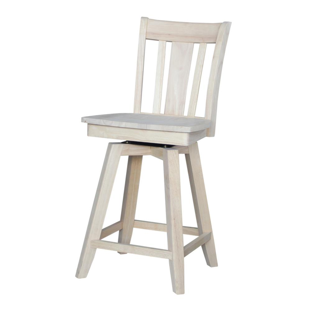 Unfinished Wood Swivel Bar Stool