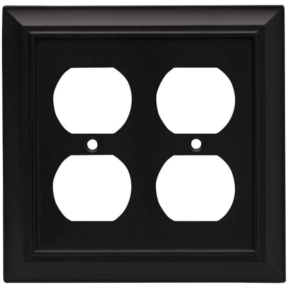 Liberty Architectural Decorative Double Duplex Outlet Cover, Flat Black