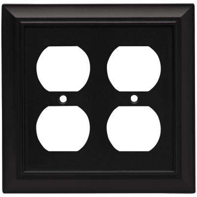 Architectural Decorative Double Duplex Outlet Cover, Flat Black