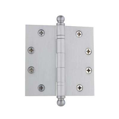 4.5 in. Ball Tip Heavy Duty Hinge with Square Corners in Satin Nickel