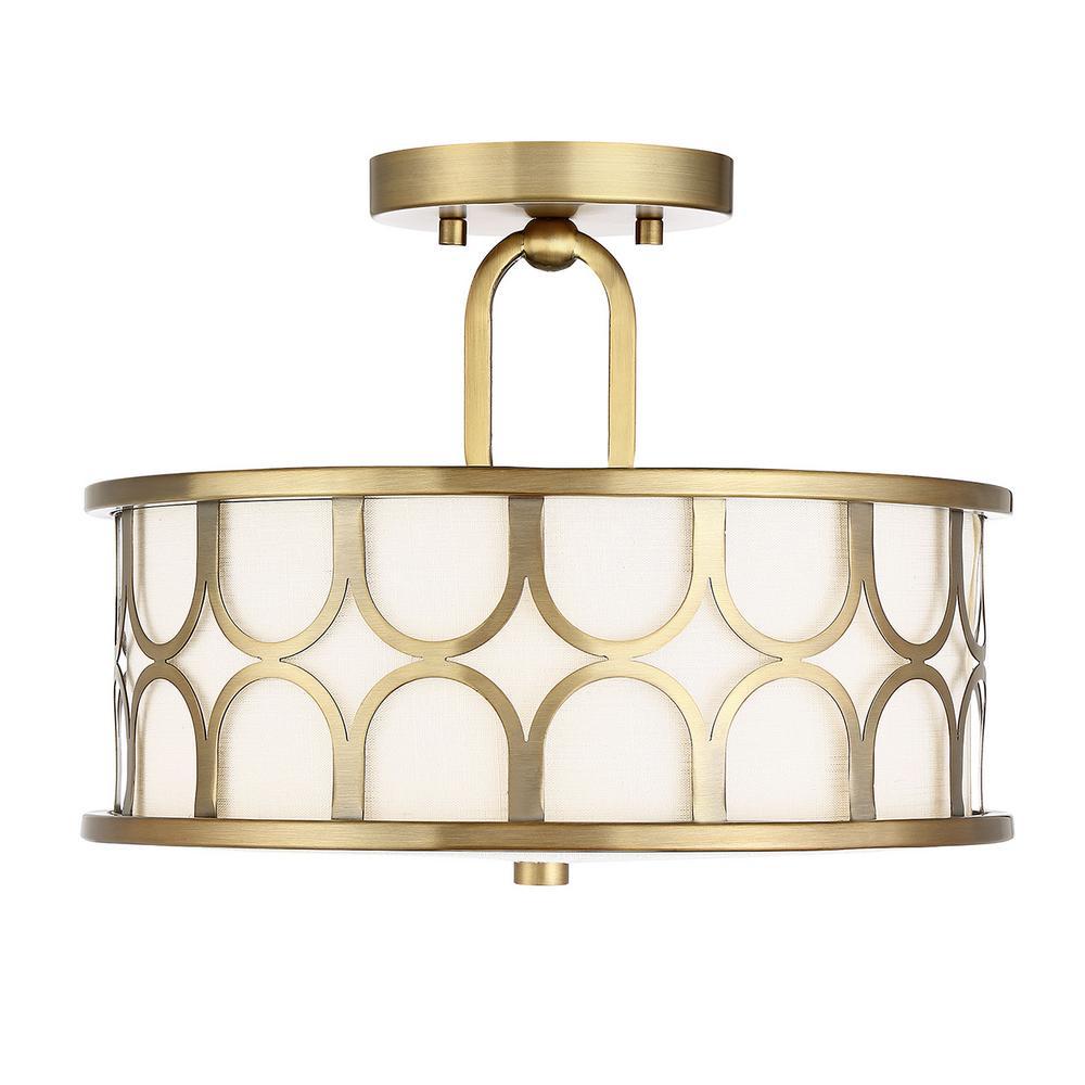 2-Light Natural Brass Semi-Flushmount with White Fabric Shade